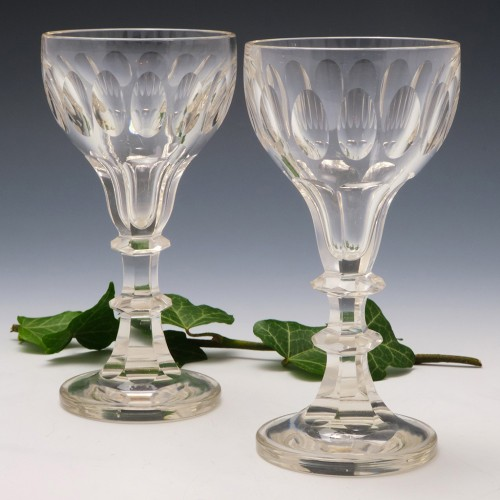 Pair of Victorian Lens Cut Champagne/ Wine Glasses c1880