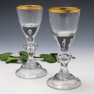 A Pair Of Lauenstein Wine Glasses c1770