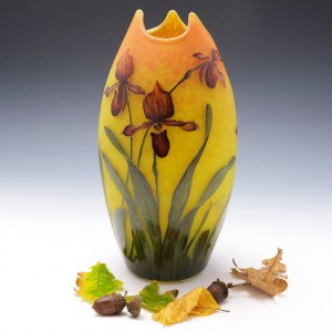 A Very Fine Muller Freres Orchids Cameo Vase c1910