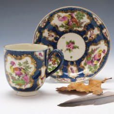 Worcester Scale Bllue Coffee Cup and Saucer c1770