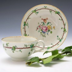 James Giles Decorated Worcester Porcelain Teacup and Saucer c1770