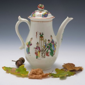 Worcester Porcelain Chinese Family Pattern Coffee Pot c1770
