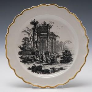 A Very Fine Worcester Porcelain Hancock Print Plate c1775