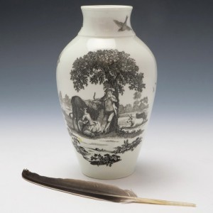 Hancock Print Worcester Vase Milkmaids No1 and Rural Lovers c1770