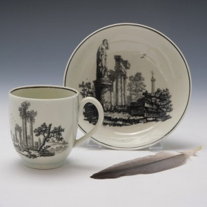 Worcester Hancock Classical Ruins Coffee Cup and Saucer c1763