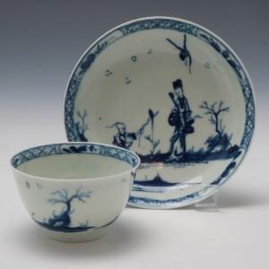 Worcester Walk In The Garden Tea Bowl and Saucer c1760