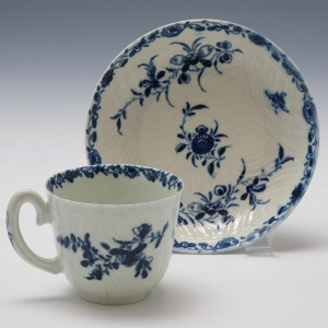 Rare Worcester Feather Moulded Coffee Cup and Saucer c1760