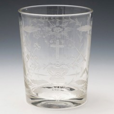 Victorian Masonic Engraved Tumbler Dated 1842