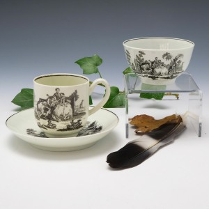 Very Fine Worcester Porcelain Hancock Print Tea Bowl, Coffee Cup and Saucer c1760