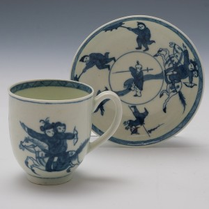 Worcester Porcelain Eloping Bride Coffee Cup and Saucer c.1768