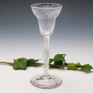 Engraved Pan Top Air Twist Stem Wine Glass c1750