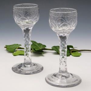 Pair of Fine Georgian Facet Cut Cordial Glasses c1780