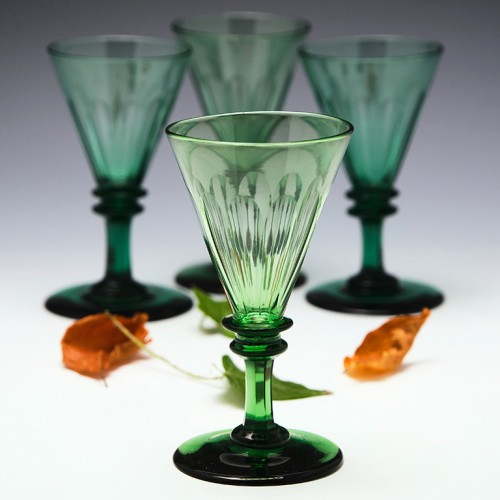 Set of four Victorian Green Wine Glasses