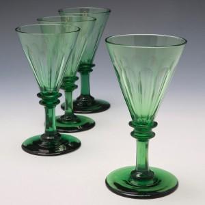 Set of Four Green Wine Glasses c1840