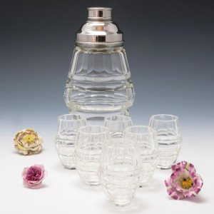 Art Deco Crystal Cocktail Shaker and Glasses c1930