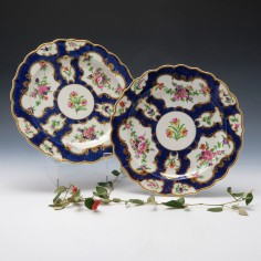 Pair of Chamberlains Worcester Scale Blue Plates c1820