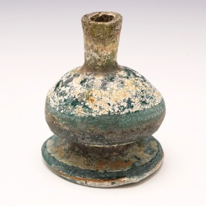 Large Ancient Footed Glass Bottle Eastern Mediterranean 4th to 9th Century
