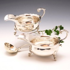Pair of Sterling Silver Sauceboats, London 1742