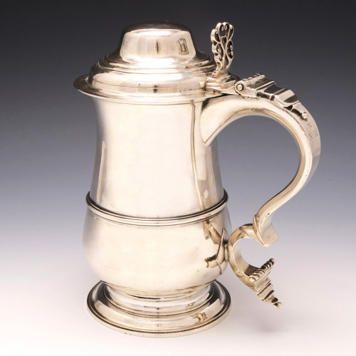 Georgian Silver Lidded Quart Tankard John Muns London 1769