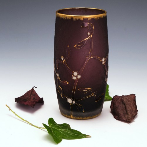 Daum Nancy Mistletoe Vase with Cabochons c1900