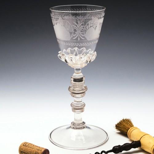 Engraved  Spike Gadrooned Goblet c1700