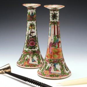 Pair of Chinese Rose Medallion Porcelain Candlesticks c1900