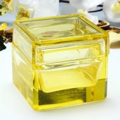 A European Citrine Glass Trinket Box  c1900
