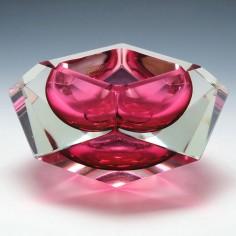 An Oball Vetreria Artistica Sommerso Facet Cut Glass Bowl - c1980