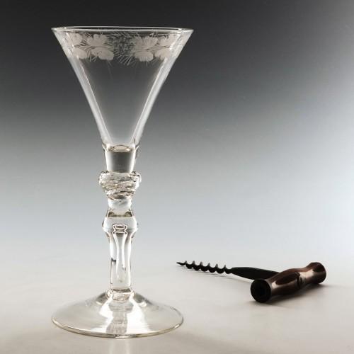 Engraved Light Baluster Wine Glass c1740