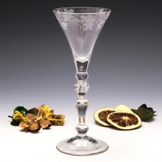 Engraved Georgian Light Baluster Wine Glass c1745