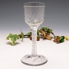 Double Series Mercury Twist Georgian Wine Glass c1750