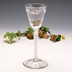 Mary Beilby Opaque Twist Wine Glass with Enamelled Decoration c1765