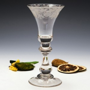 Engraved Georgian Baluster Wine Glass c1725