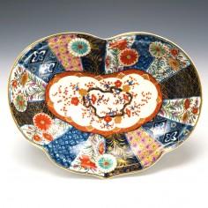 Worcester Porcelain Kidney Shaped Dish Old Mosaic Pattern c1775
