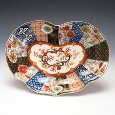 RESERVED HG - Worcester Porcelain Kidney Shaped Dish Old Mosaic Pattern c1775
