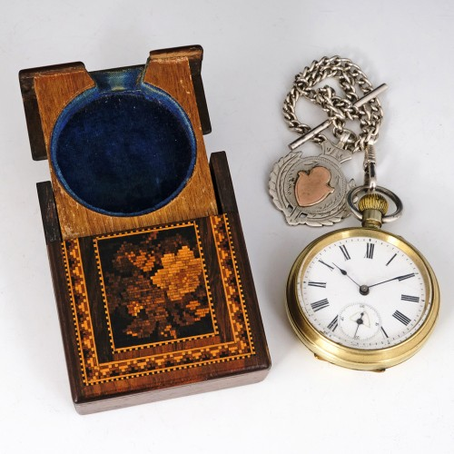 Tunbridge Ware Rosewood Floral Decorated Folding Fob Watch Stand c1860