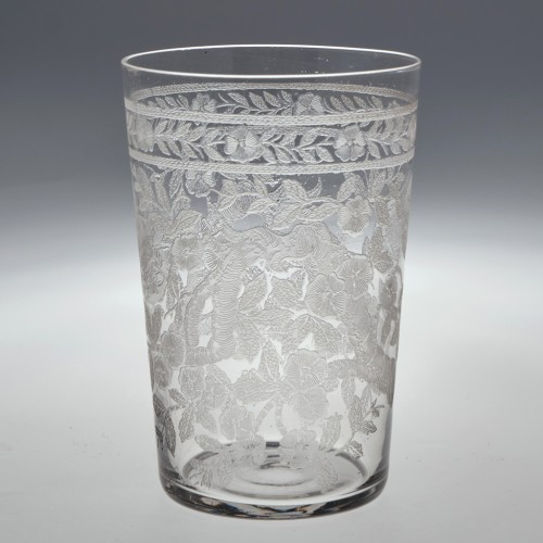 Late Victorian Machine Engraved Whiskey Glass c1900