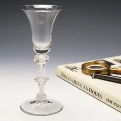 Georgian Triple Knop Opaque Twist Wine Glass c1760