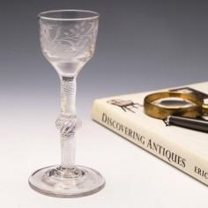 Engraved Multi Series Air Twist Wine Glass c1750