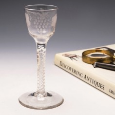 Engraved Double Series Opaque Twist Georgian Wine Glass c1760