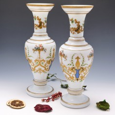 Pair of French Opaline Vases c1890