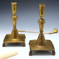 Pair of Spanish Brass Candlesticks c1700