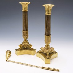 Pair of Mid 19th Century French  Empire Ormolu Candlesticks