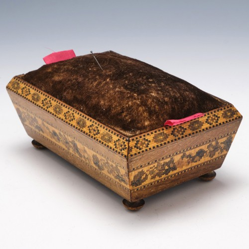 Tunbridge Ware Sarcophagus Shaped Sewing Box c1860
