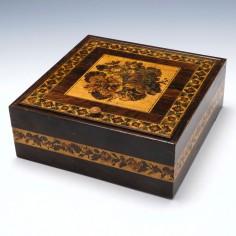 Porters Tunbridge Ware Handkerchief Box with Floral Lid c1860