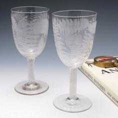 Pair of Victorian Engraved Goblets Incised Twist Stems c1880