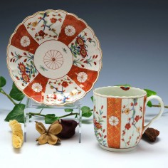 Worcester Porcelain Scarlet Japan Pattern Coffee Cup and Saucer c1770