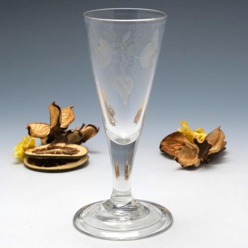 Wheel Engraved Georgian Ale Glass c1750