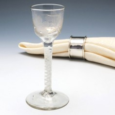 Wheel Engraved Double Series Opaque Twist Wine Glass c1760