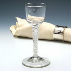 Double Series Opaque Twist Wine Glass c1760